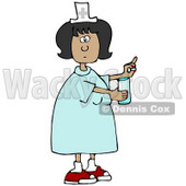 Clipart Illustration of a Female Latina Nurse In A Blue Dress, Holding A Glass Of Water And A Pill For A Patient In A Hospital © Dennis Cox #18857