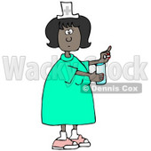 Clipart Illustration of a Female African American Nurse In A Green Dress, Holding A Glass Of Water And A Pill For A Patient In A Hospital © Dennis Cox #18859