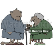 Clipart Illustration of a Saggy Old African American Couple Wearing Robes, Using Canes © Dennis Cox #18862