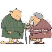 Clipart Illustration of a Saggy Old Caucasian Couple Wearing Robes, Using Canes © Dennis Cox #18865