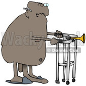 Clipart Illustration of an Old African American Man With His Privates Dragging On The Floor, Walking Nude With A Walker © Dennis Cox #18866