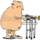 Clipart Illustration of an Old Caucasian Man With His Privates Dragging On The Floor, Walking Nude With A Walker © Dennis Cox #18867