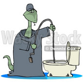 Clipart Illustration of a Plumber Snake Using A Toilet Jack To Unclog A Toilet © Dennis Cox #18869