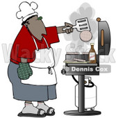 Clipart Illustration of an African American Man Cooking Hamburger Patties On A Gas Grill At A Barbecue Party © Dennis Cox #18870