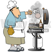 Clipart Illustration of a Caucasian Man Cooking Hamburger Patties On A Gas Grill At A Barbecue Party © Dennis Cox #18871