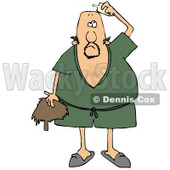 Clipart Illustration of a Caucasian Man Wearing A Green Robe And Slippers, Applying Hairpiece Glue On Top Of His Bald Head To Make His Toupee Stay © Dennis Cox #18923