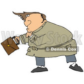 Clipart Illustration of a Nervous Caucasian Man Looking Upwards As High Winds Nearly Blow The Hairpiece Off Of His Bald Head © Dennis Cox #18925