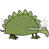 Clipart Illustration of a Green Dinosaur Like Tortoise With Spikes On His Shell © djart #18926
