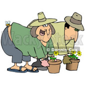 Clipart Illustration of a Caucasian Woman Gardening With Her Husband, Getting Stung On The Butt By A Bee © djart #18927
