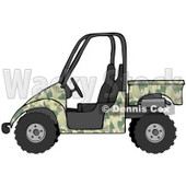 Clipart Illustration of a Military Green Camouflage UTV Truck © Dennis Cox #18937