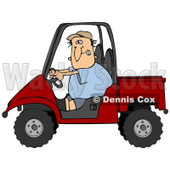 Clipart Illustration of a Nervous White Man Driving A Red UTV On The Job For The First Time © Dennis Cox #18940