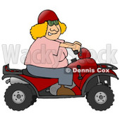 Clipart Illustration of an Adventurous Blond White Woman Wearing A Red Helmet And Riding A Red ATV © djart #18942