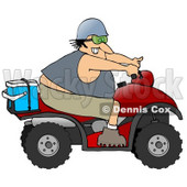 Clipart Illustration of an Adventurous White Man Riding A Red ATV With An Ice Box On The Back © Dennis Cox #18943