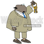 Clipart Illustration of a Bald Black Businessman Holding Up Keys On A Ring © djart #18944