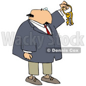 Clipart Illustration of a Bald White Businessman Holding Up Keys On A Ring © Dennis Cox #18945