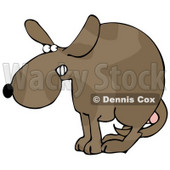 Clipart Illustration of a Scared Dog At The Vets Office, Cowering With His Tail Tucked Between His Legs, Protecting His Testicles Before Getting Neutered © Dennis Cox #18947