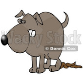 Clipart Illustration of a Revengeful Dog Pooping on the Floor © Dennis Cox #18948