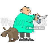 Clipart Illustration of a Scared Dog With Balls, Cowering With Its Legs Between Its Tail As A Male Veterinarian Prepares The Tools For A Neuter Surgery © Dennis Cox #18949