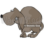 Clipart Illustration of a Frightened Brown Dog Quivering With His Tail Tucked Between His Legs © Dennis Cox #18950