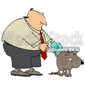 Clipart Illustration of a Bald Middle Aged White Man Wearing A Plastic Bag On His Hand, Waiting For His Dog To Finish Pooping So He Can Pick It Up © Dennis Cox #18951