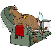Clipart Illustration of an Exhausted Brown Cow Kicked Back, Reclined And Relaxing In A Green Lazy Chair With A Bottle Of Milk Beside Him, Winding Down After A Long Day Of Work At The Dairy Farm © Dennis Cox #18976