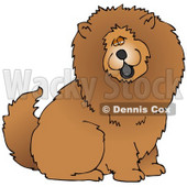 Clipart Illustration of a Cute And Fluffy Brown Chow Chow Dog Sticking His Black Tongue Out And Looking At The Viewer © Dennis Cox #18978