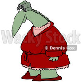 Clipart Illustration of a Feminine Green Dinosaur With Her Hair In Curlers, Wearing A Red Robe Over Pink Pajamas And Red Slippers © djart #19001
