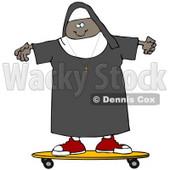 Clipart Illustration of a Cool Black Female Nun Riding a SKateboard © Dennis Cox #19004