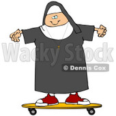 Clipart Illustration of a Cool White Female Nun Riding a SKateboard © Dennis Cox #19005