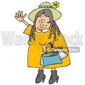 Clipart Illustration of a Woman, Lizzie Borden, Wearing A Straw Hat And Yellow Dress, Waving In A Friendly Manner As A Hatchet Sticks Out Of Her Purse © djart #19007