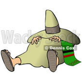 Clipart Illustration of a Tired Mexican Man Resting His Hands On His Belly And Hiding His Face From The Sun With A Sombrero While Taking A Nap, Commonly Known As A Siesta © Dennis Cox #19008