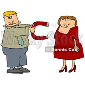 Clipart Illustration of a Desperate Man In Need Of Love, Holding A Chick Magnet Out To Attract A Beautiful Woman In A Red Dress © Dennis Cox #19009