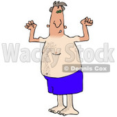 Clipart Picture of a Dorky And Chubby Middle Aged White Man In Blue Swimming Shorts, Flexing His Muscles And Showing Off The Tan Lines From His Farmers Tan While Hanging Out On The Beach On Summer Vacation © Dennis Cox #19136