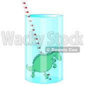 Clipart Picture of a Silly Green Dinosaur Holding Its Breath While Swimming Around A Straw In A Tall Glass Of Water © djart #19137