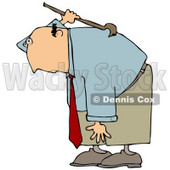 Clipart Illustration of a Bald White Businessman Bending Over And Scratching An Itch On His Back With A Back Scratcher © Dennis Cox #19263