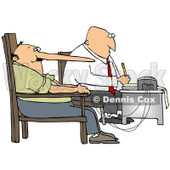 Clipart Illustration of a White Polygraph Examiner Guy Seated In Front Of A Machine While Interrogating A Lying Man Who's Nose Keeps Growing Like Pinocchio With Every Fib He Tells During A Lie Detector Test © Dennis Cox #19292