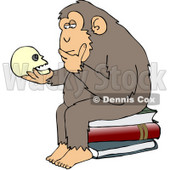 "Clipart Illustration of a Wise Monkey Holding And Gazing At A Human Skull, Pondering His Own Existance, A Parody Of Hugo Rheinhold's ""Philosophizing Ape"" Sculpture That Was Created In 1892 © Dennis Cox #19368"