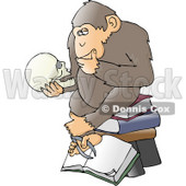 "Clipart Illustration of a Chimp In Thought, Sitting On Top Of A Stack Of Books And Staring At A Skull, A Parody Of Hugo Rheinhold's ""Philosophizing Ape"" Sculpture That Was Created In 1892 © Dennis Cox #19369"
