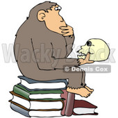 "Clipart Illustration of a Smart Chimpanzee Sitting On Top Of A Stack Of Books And Gazing At A Skull, A Parody Of Hugo Rheinhold's ""Philosophizing Ape"" Sculpture That Was Created In 1892 © Dennis Cox #19370"
