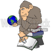 Clipart Illustration Of A Monkey In Thought, Sitting On Top Of A Stack Of Books And Staring At Planet Earth © Dennis Cox #19391