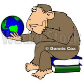 Clipart Illustration Of A Chimp In Thought, Sitting On Top Of A Stack Of Books And Staring At A Globe, Pondering The Universe © Dennis Cox #19392