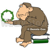 Clipart Illustration Of A Chimpanzee In Thought, Sitting On Top Of A Stack Of Books, Rubbing His Chin And Staring At Green Recycle Arrows © Dennis Cox #19393