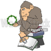 Clipart Illustration Of An Environmental Chimpanzee In Thought, Rubbing His Chin And Sitting On Top Of A Stack Of Books, While Looking At Green Recycling Arrows © Dennis Cox #19394
