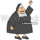Clipart Illustration of a Friendly White Lady Nun In Uniform, Waving Hello © Dennis Cox #19395