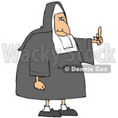 Clipart Illustration of a White Lady Nun In Uniform, Flipping Someone Off For Making Fun Of Her © djart #19396