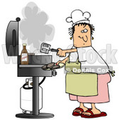 Clipart Illustration of a White Lady Wearing A White Chefs Hat, Yellow Apron, White T Shirt, Pink Shorts And Red Sandals, Holding A Spatula And Removing Cooked Hamburger Patties From The Gas Grill © Dennis Cox #19398