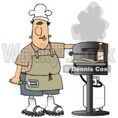 Clipart Illustration of a White Guy Wearing Sandals, An Apron And A White Chefs Hat, Holding A Spatula, Cooking Hamburger Patties On A Gas Grill © Dennis Cox #19399