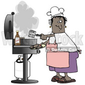 Clipart Illustration of a Black Lady Wearing A White Chefs Hat, Pink Apron, White T Shirt, Purple Shorts And Brown Sandals, Holding A Spatula And Removing Cooked Hamburger Patties From The Gas Grill © Dennis Cox #19400
