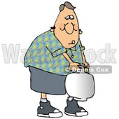 Clipart Illustration of a Weak White Guy Trying To Carry A Propane Cylinder Tank To The Camp Site For Cooking After Refilling It © Dennis Cox #19401