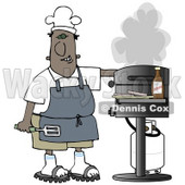 Clipart Illustration of a Black Guy Wearing A Chefs Hat And Apron, Holding A Spatula And Tending To The Barbecue At A Picnic © Dennis Cox #19402